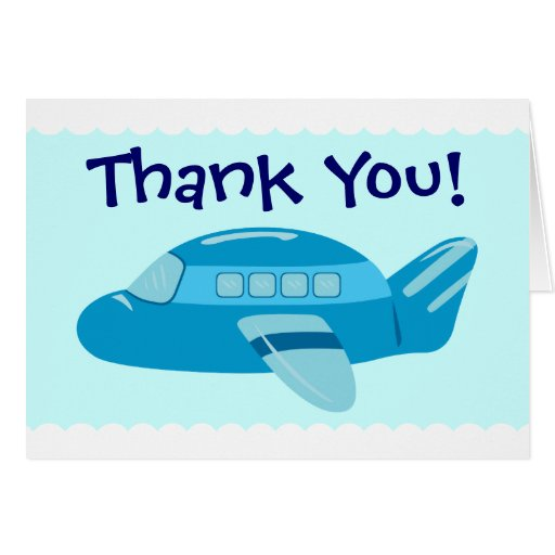 Blue Airplane Thank You Cards Note Card Zazzle