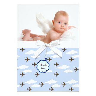 Blue Airplanes Baby Boy Photo Thank You Cards