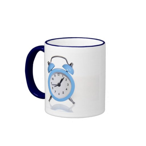 Blue alarm clock coffee mugs