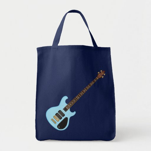 Blue Alembic Bass Guitar String Instrument Grocery Tote Bag