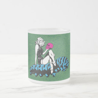 Blue Alice and the caterpillar Frosted Glass Coffee Mug