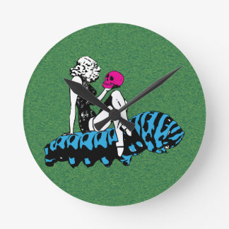 Blue Alice and the caterpillar Round Clock