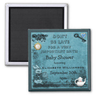 Blue Alice in Wonderland Save The Date Baby Shower 2 Inch Square Magnet