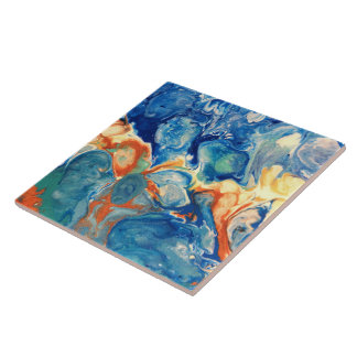 Blue Alien Acrylic Abstract Painting Ceramic Tile