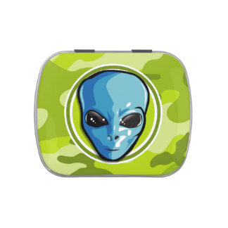 Blue Alien; bright green camo, camouflage Candy Tin