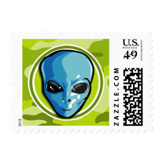 Blue Alien bright green camo camouflage Stamp