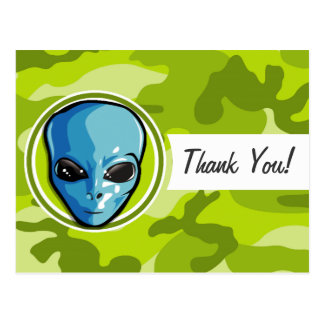 Blue Alien; bright green camo, camouflage Post Cards