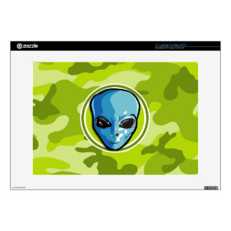 """Blue Alien; bright green camo, camouflage 15"""" Laptop Decal"""