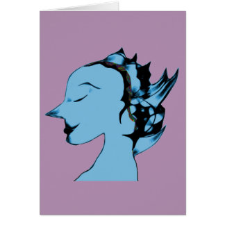 Blue Alien Female Card