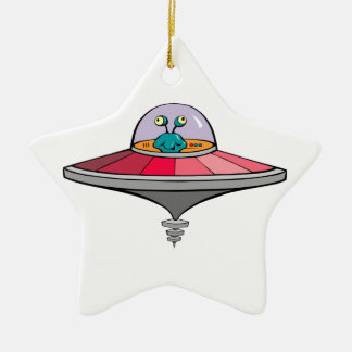 Blue Alien Flying Pink and Gray Flying Saucer Ceramic Ornament