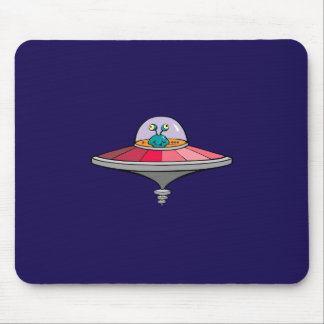 Blue Alien Flying Pink and Gray Flying Saucer Mouse Pad
