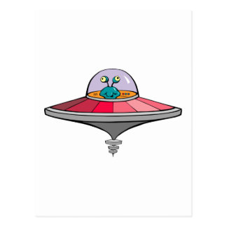 Blue Alien Flying Pink and Gray Flying Saucer Postcard