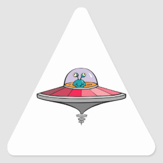 Blue Alien Flying Pink and Gray Flying Saucer Triangle Sticker