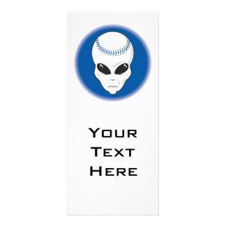 blue alien head extreme baseball design rack card