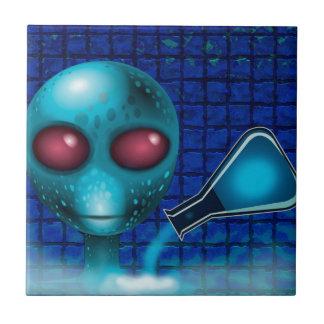 BLUE ALIEN LAB SCIENTIST, ALIEN SCIENCE CERAMIC TILE