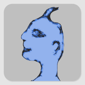 Blue Alien Lifeform Square Sticker