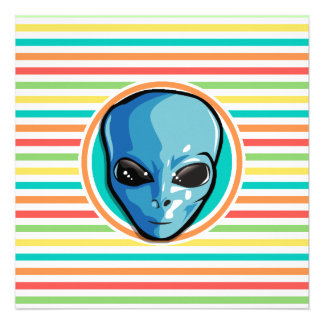 Blue Alien on Bright Rainbow Stripes Personalized Announcement