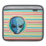 Blue Alien on Bright Rainbow Stripes Sleeves For iPads