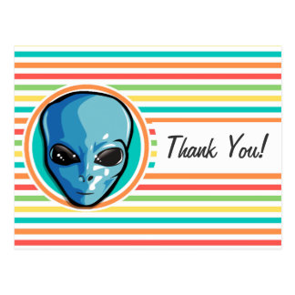Blue Alien on Bright Rainbow Stripes Post Cards