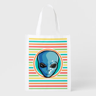 Blue Alien on Bright Rainbow Stripes Reusable Grocery Bags