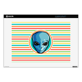 Blue Alien on Bright Rainbow Stripes Decal For Laptop