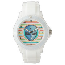 Blue Alien on Bright Rainbow Stripes Wristwatch