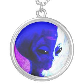Blue Alien Pendant Necklace
