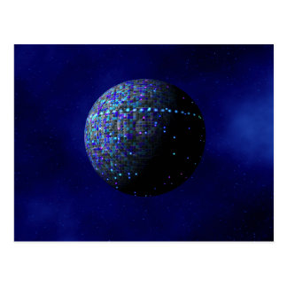 Blue Alien Satellite Postcard