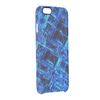 Blue Alien Space Metal Grid Clear iPhone 6/6S Case