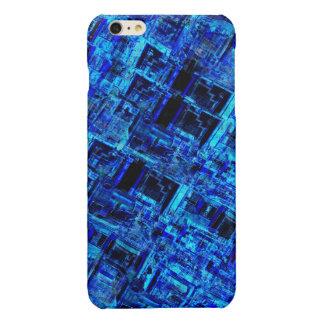 Blue Alien Space Metal Grid Glossy iPhone 6 Plus Case