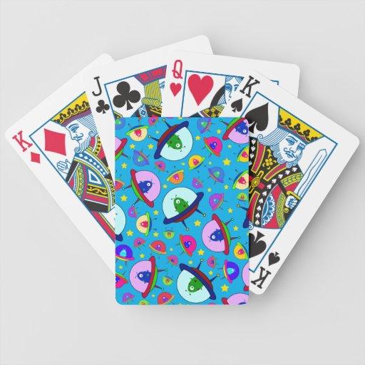 Blue alien spaceship pattern poker deck