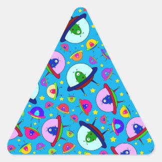 Blue alien spaceship pattern triangle sticker