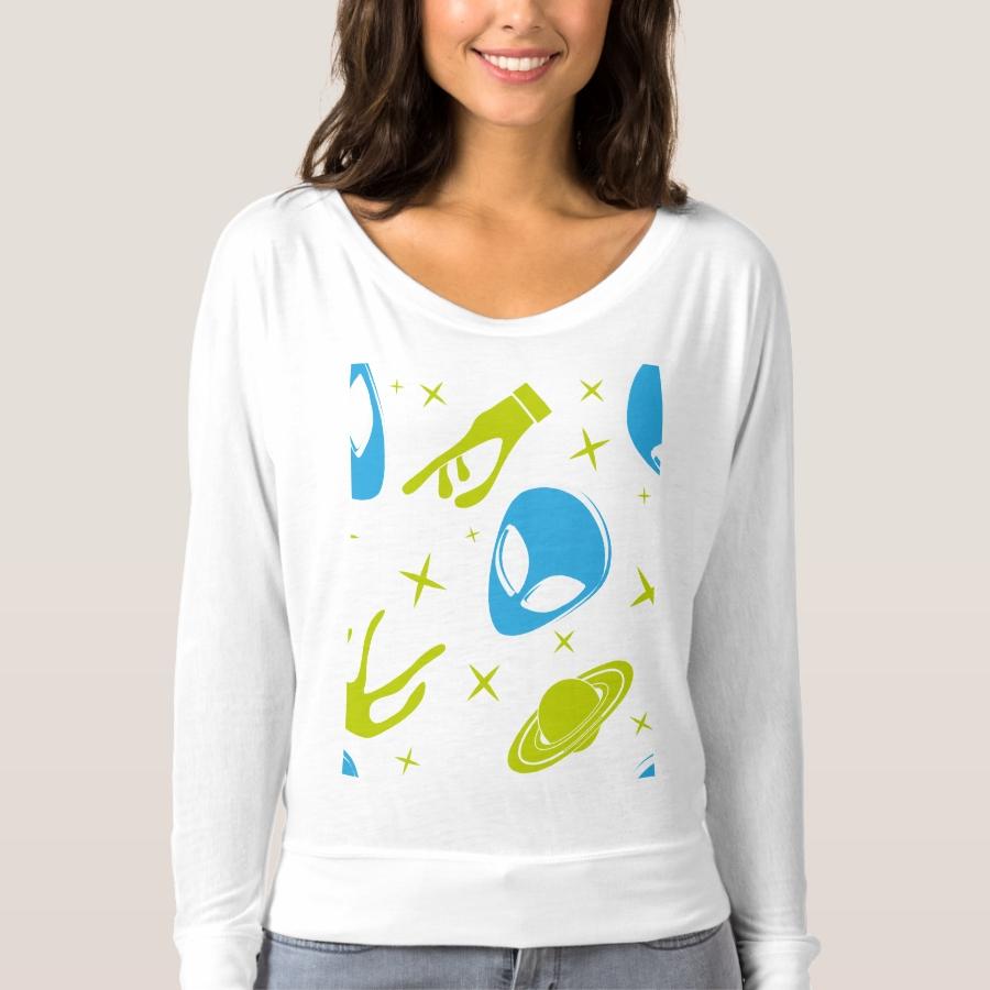 Blue Alien T-shirt - Best Selling Long-Sleeve Street Fashion Shirt Designs