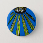 Blue All Seeing Eye Square and Compass Mason Button