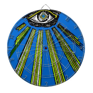 Blue All Seeing Eye Square and Compass Mason Dartboard With Darts