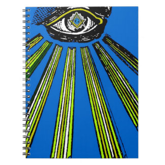 Blue All Seeing Eye Square and Compass Mason Spiral Note Book