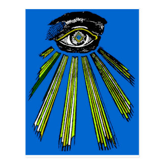 Blue All Seeing Eye Square and Compass Mason Postcard
