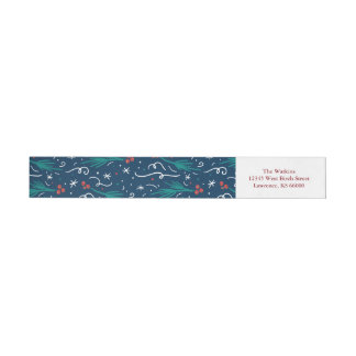 Blue All Things Merry & Bright Address Label