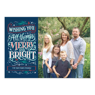 Blue All Things Merry & Bright Holiday Photo Card