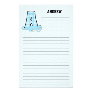 "Blue Alligator Mongrammed ""A"" Lined Stationery"