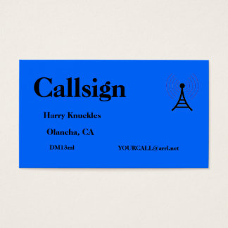 Blue Amateur Radio Call Sign Business Card
