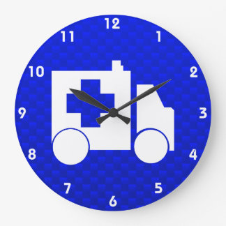 Blue Ambulance Large Clock