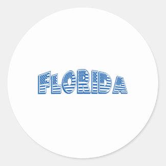 Blue American Flag Florida Round Sticker