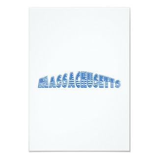 Blue American Flag Massachusetts 3.5x5 Paper Invitation Card