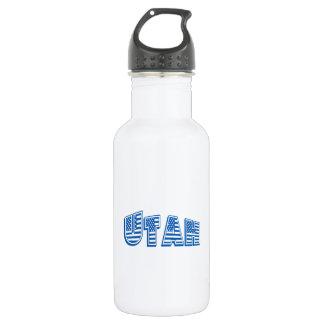 Blue American Flag Utah Water Bottle