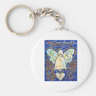 Blue & Gold Cancer Angel - Large Keychain