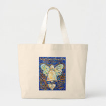 Blue & Gold Cancer Angel - Large Large Tote Bag