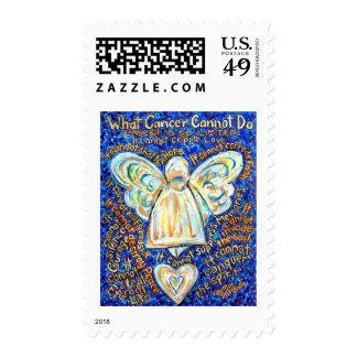 Blue & Gold Cancer Angel - Large Postage Stamp
