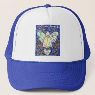 Blue & Gold Cancer Angel - Large Trucker Hat