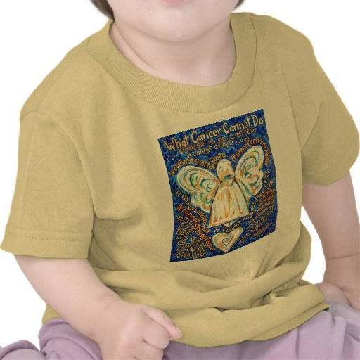 Blue & Gold Cancer Angel - Large T Shirts